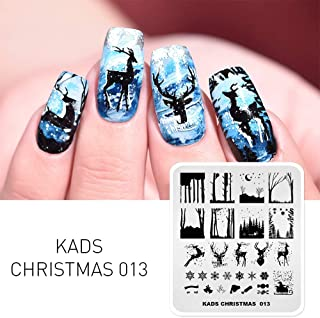 KADS Christmas Stamp Plate Image Template Nail Art Decoration Design Tool Stencil Elk Bell Snowflakes (CH013)