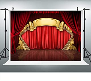 3D Theater Stage Red Curtain Hollywood Photography Backdrop for Party, 9x6FT, Golden Wooden Floor Background, for Wedding Bridal Birthday Baby Shower Props LYLU409
