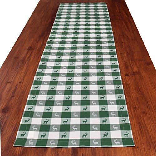 SeGaTeX home fashion Tischläufer Landhaus-Tischdecke Karo in Grün 40 x 160 cm grün-weiß kariert Hirschmotiv für den rustikal-gemütlichen Landhaus-Stil