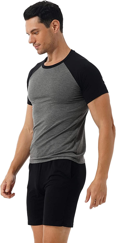 Hularka Men's Contrast Color T-shirts with Shorts Pajama Set Two-Piece Sleepwear Loungewear