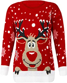 Women's Christmas Sweater Ugly Reindeer Snowflake Knitted Pullover Jumper