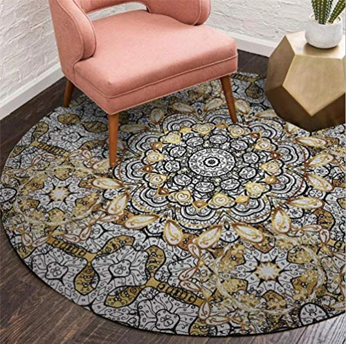 EmyTock Tapis rond en coton, style ethnique européen, pour salon, chambre à coucher, bureau, table basse, diamètre 120 cm