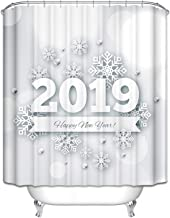 Epinki Polyester Shower Curtain Decorative Bathroom Accessories White Snowflake 2019 Happy New Year Bathroom Curtain with ...