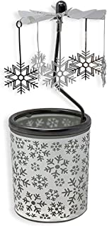 BANBERRY DESIGNS Spinning Snowflakes Candle Holder with Frosted Glass Scandinavian Design