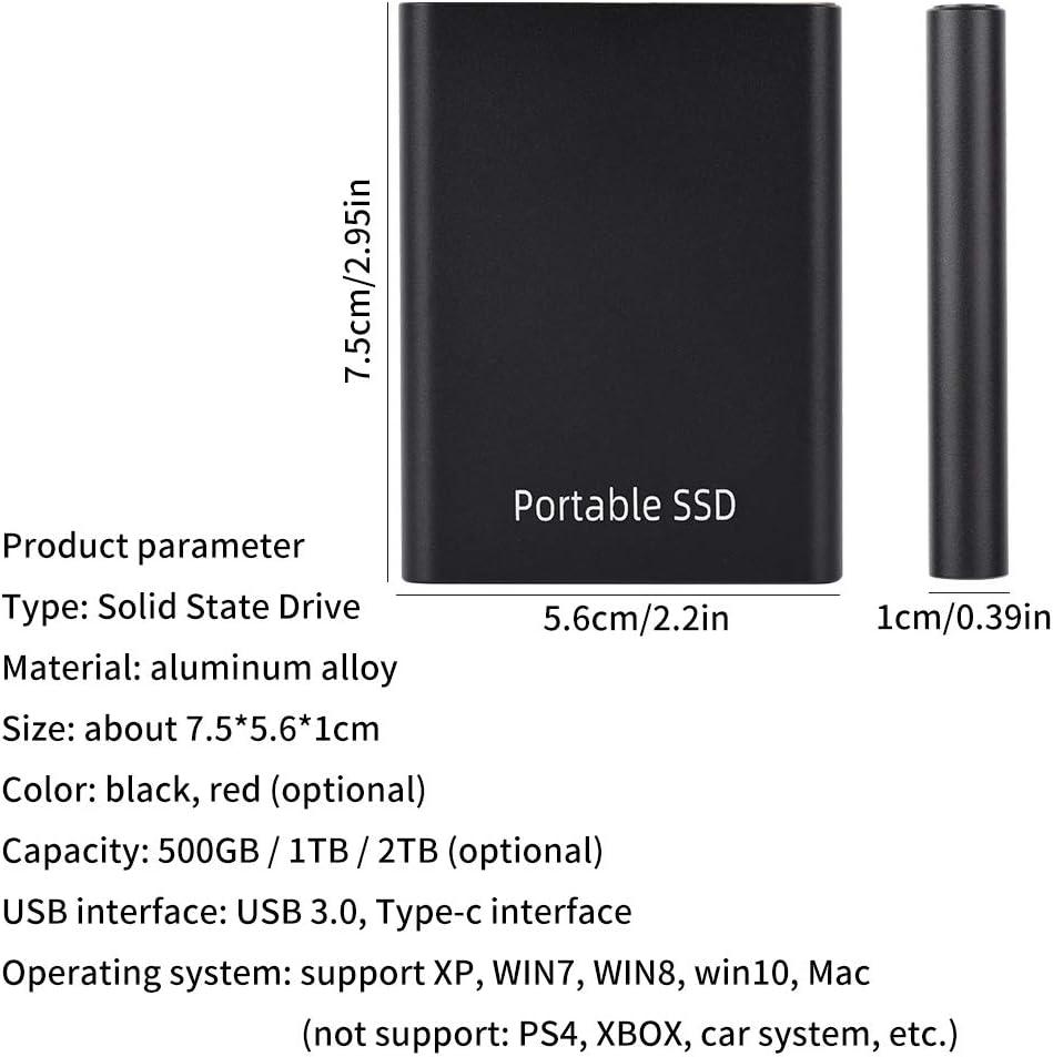 para XP Plug and Play para Windows 10 8 7 Transmisi/ón de Velocidad r/ápida Unidad de Estado s/ólido Externa port/átil 500GB // 1TB // 2TB SSD Externo USB3.0 para Mac Compatible con USB 2.0