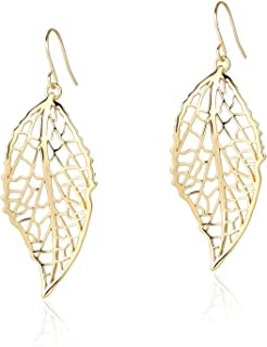 Filigree Long Leaf Pendant Dangle Necklace and Earring...
