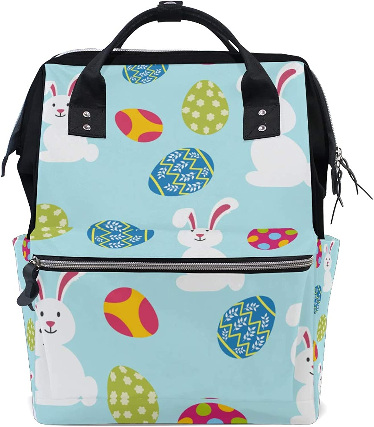 ColourLife Diaper bag Backpack White Bunny With Eggs Casual Daypack Multifunctional Nappy Bags for Women Girls