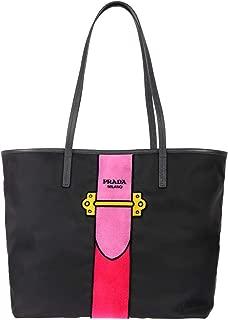 Prada Womens Black Tessuto Ricamo Shopping Tote Shoulder Bag Messenger Bag with Pink Velvet Accent Line Leather Trim 1BG065