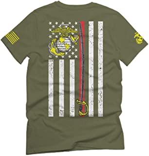 US Marine Corps Support Thin line American Flag USMC for Men T Shirt