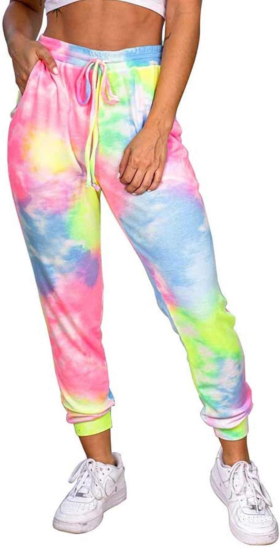Women's Tie Dye Printed Casual Plus Size Loose High Waist Elastic Active Long Jogger Pants Rainbow Sweatpants Pockets