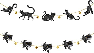 pinkblume Jingle Bell Black Cat Banner and 3D Flying Witches Garland for Happy Halloween Party Decor Carnival Kids Theme Party Cat Party Decorations All Hallows Eve Party Supplies Clearance
