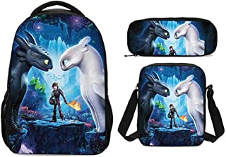 WJHY Daypack Set 3D Printing How to Train Your Dragon Pattern Lightweight Student Bookbags Insulated Lunch Bag Pencil Case 3 Pieces,B