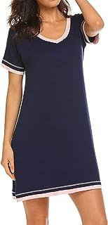 semen Pyjama Robe Femmes Midi Dress Vêtement de Nuit en Coton Manches Longues Sleepwear Casual Souple Confortable
