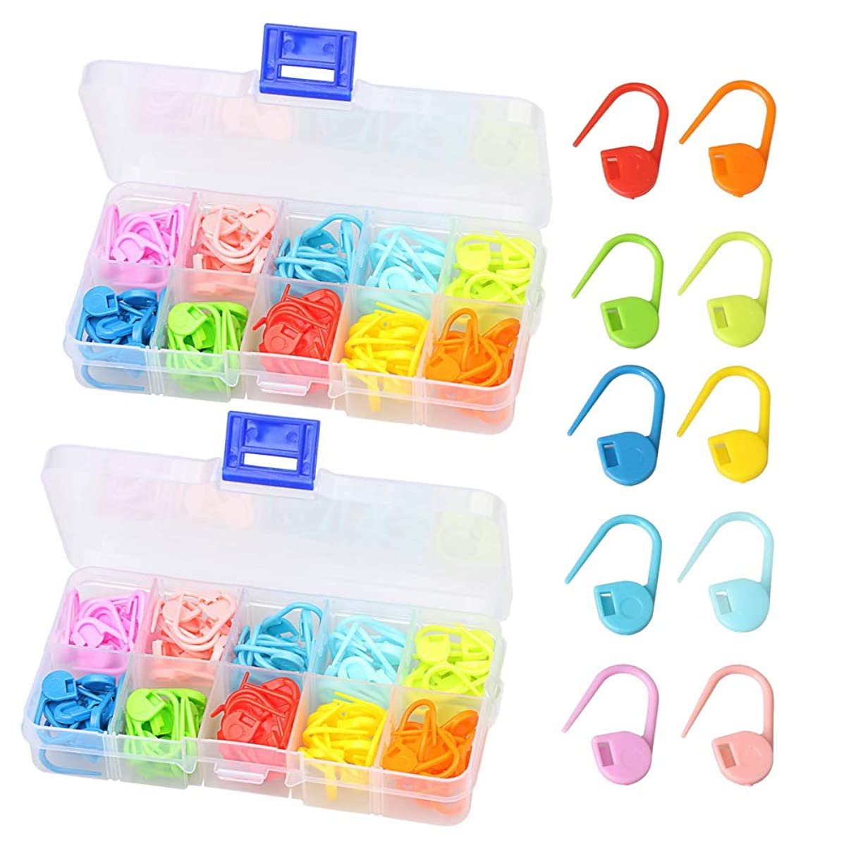 Hugesavings 240 Pieces Locking Stitch Markers, 10 Colors Stitch Markers Knitting Crochet Locking Stitch Needle Clip with 2 Plastic Boxes