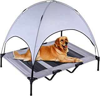 SUPERJARE XLarge Outdoor Dog Bed, Elevated Pet Cot with Canopy, Portable for Camping or Beach, Durable 1680D Oxford Fabric, Extra Carrying Bag