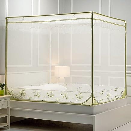 南极人 外穿杆拉链坐床式方顶蚊帐三开门1.5m/1.8m床双人2.0床蚊帐 【外穿杆】坐式蚊帐:叶子-绿色 1.5m(5英尺)床