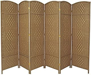 RHF 6 ft. Tall-Extra Wide-Diamond Weave Fiber Room Divider,Double Hinged,6 Panel Room Divider/Screen, Room Dividers and Folding Privacy Screens 6 Panel, Freestanding Room Dividers-Natural, 6 Panel