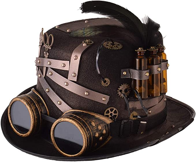 Steampunk Accessories | Goggles, Gears, Glasses, Guns, Mask GRACEART Steampunk Top Hat for Women Gears for Men with Removable Goggle  AT vintagedancer.com