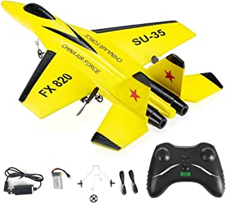 FX-820 RC Airplane Glider 2.4G 2CH RTF Stabilized SU-35 Fighter Jet Simulator Foam Flying Aircraft Outdoor Gift Toys For K...