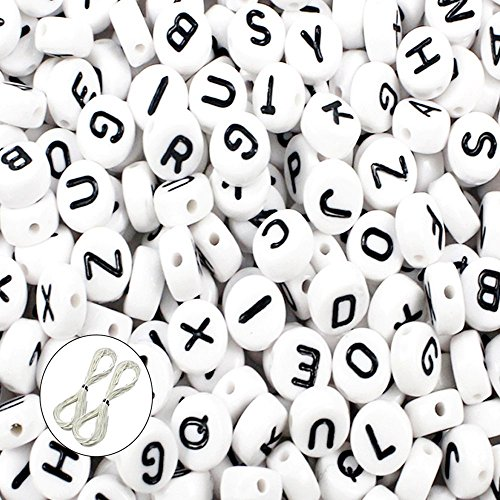 JPSOR 600pcs 4x7mm Acrylic White Round Letter Beads for Bracelets and Jewelry Making,with Thread & Pouch (A)