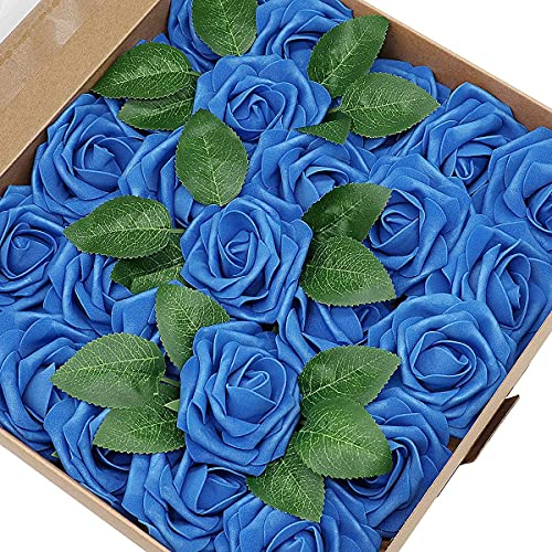 25 Piezas de Flor Artificial Rosa,Flores de Rosa de Tacto Real, decoración romántica de la Mesa de la Cena del Banquete de Boda, Guirnalda o Ramillete de Bricolaje(azul)