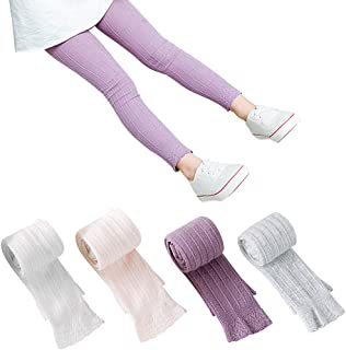 4 Pack Girls Legging Tight Flared Lace Footless Knitted...