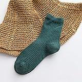 Calcetines de Invierno Calcetines de algodón Girls Calcetines de Color sólido Doble Aguja Calcetines Marcas japonesas Calcetines cómodos y Transpirables. (Color : Green)