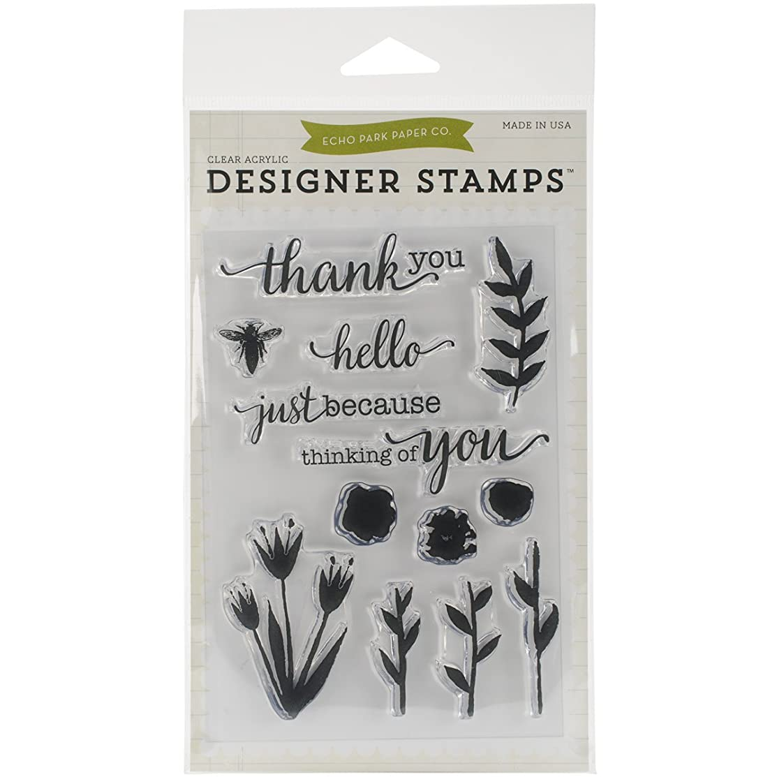 Echo Park Paper Company Watercolors Flowers Stamp, 4 x 6