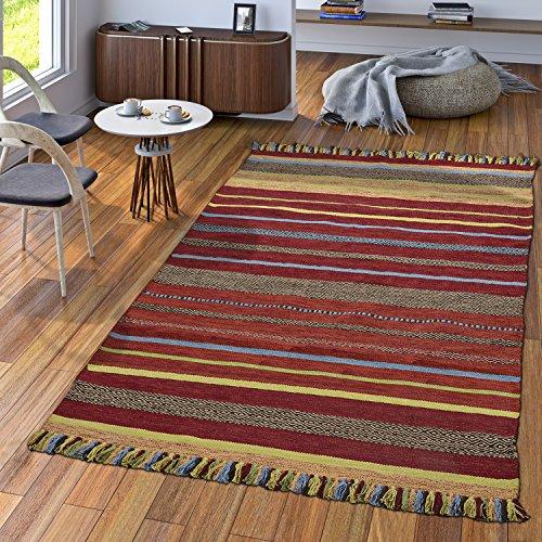TT Home Handwebteppich Wohnzimmer Natur Webteppich Kelim Baumwolle Streifen Mehrfarbig, Größe:60x110 cm