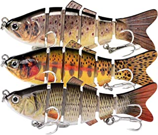 """Fishing Lures for Bass Trout 3.9"""" Slow Sinking Bionic Swim Baits Segmented Multi Jointed Swimming Lures Freshwater Saltwat..."""