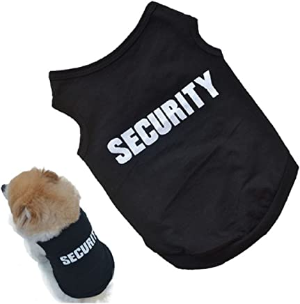 2016 Newly Design SECURITY Black Dog Vest Summer Pets Dogs Cotton Clothes Shirts Apparel Ropa para