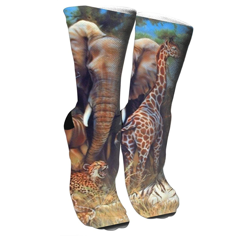 靴下 抗菌防臭 ソックス キリンライノ象とタイガーアスレチックスポーツソックス、旅行&フライトソックス、塗装アートファニーソックス30 cmロングソックス