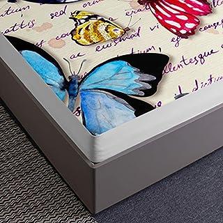 Chickwin Drap Housse pour Matelas Épais, 3D Papillon Imprimé Microfibre Drap - Housse Épaisseur Allant Jusqu'à 30 cm - Ant...