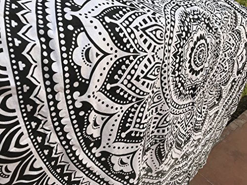 Raajsee - Toalla de playa redonda de algodón, diseño bohemio, sirve como manta, mantel, alfombrilla de meditación y yoga, color gris