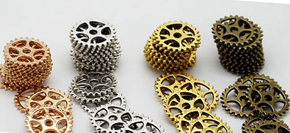 Gears Cogs 15mm Copper, Brass, Silver and Gold for Crafting Steampunk Jewelry & Altered Art Set of 40 Pieces