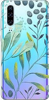 Suhctup Compatible con Huawei P30 Funda Flor de TPU Transparente Diseño de Flores Patrón Cárcasa Ultra Fina Suave con Dibu...