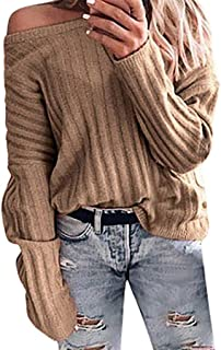 UONQD Women's Long-Sleeved Knit Solid Color Loose Sweater Top Blouse