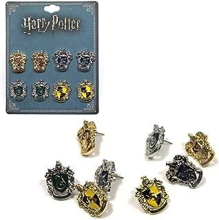 Harry Potter 4 pack Licensed Earrings House Crest Logo Gryffindor Ravenclaw Slytherin Hufflepuff