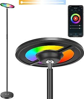 BOXLOOD Lámpara de pie LED, WiFi, regulable, compatible con Alexa, Google Home e IFTTT, lámpara de lectura RGB de 25 W, lámpara táctil para salón, dormitorio, oficina, hotel