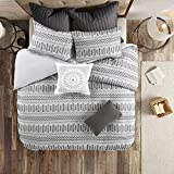 INK+IVY 100% Cotton Comforter Mid Century Modern Design All Season Bedding Set, Matching Shams, Full/Queen(88'x92'), Rhea, Grey Geometric Clipped Jacquard 3 Piece