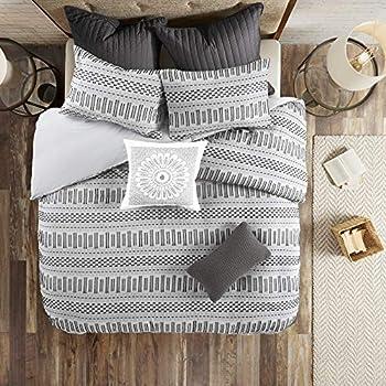 INK+IVY 100% Cotton Comforter Mid Century Modern Design All Season Bedding Set Matching Shams King/Cal King 104 x92   Rhea Grey Geometric Clipped Jacquard 3 Piece