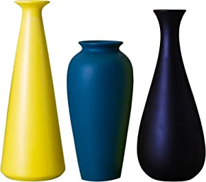 JDZMYF Vases for Flowers Modern Home Decor Living Room Decorations, Rustic Shelf Farmhouse Decor for The Home Colorful Small Frosted Ceramic Vase 3 Piece Set Bud Decorative Vase Black, Yellow, Blue