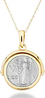 Miabella 18K Gold over Sterling Silver Italian Genuine 100 Lira Coin Reversible Flip Pendant with Adjustable Bolo Necklace, 14-24 Inch Slider Chain 925 Made in Italy