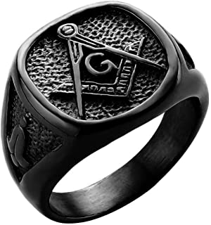 Gungneer Masonic Seal Ring Stainless Steel Fashionable Jewelry Accessory for Men