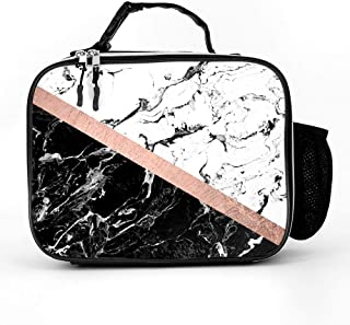 Chic Black White Marble Block Rose Gold Lunch Box with Padded Liner, Spacious Insulated Lunch Bag, Durable Thermal Lunch C...
