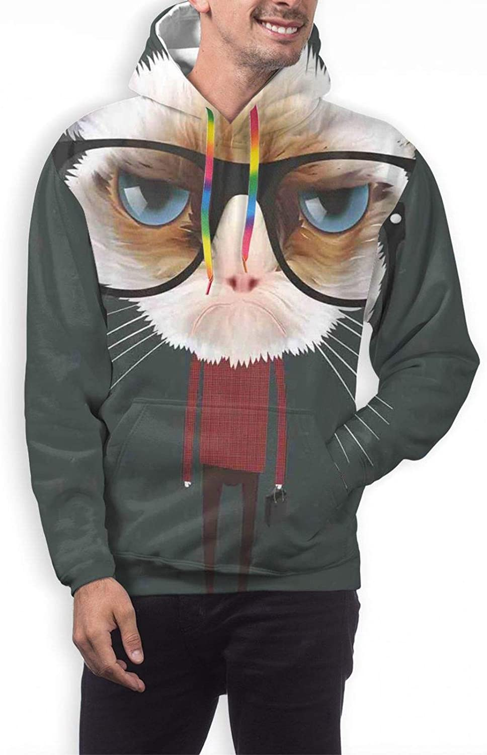 Men's Hoodies Sweatshirts,Hipster Feline with Giant Head Plaid Shirt and Greyscale Background Funny Illustration