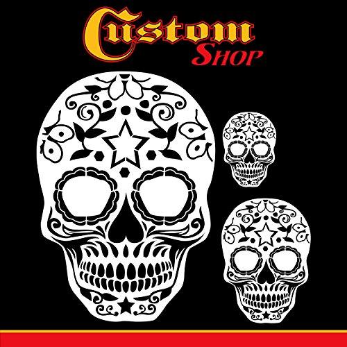 Custom Shop Airbrush Sugar Skull Day of The Dead Schablonen-Set (Totenkopf-Design Nr. 10 in 3 Maßstaben) – Lasergeschnittene wiederverwendbare Vorlagen – Auto Motorrad Grafik Kunst