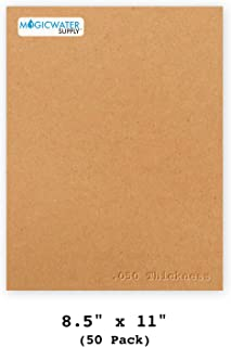 50 Chipboard Sheets 8.5 x 11 inch - 50pt (Point) Heavy Weight Brown Kraft Cardboard for Scrapbooking & Picture Frame Backing (.050 Caliper Thick) Paper Board   MagicWater Supply
