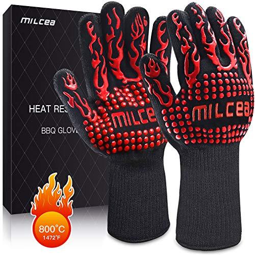 MILcea Grillhandschuhe 800 ° C Ofenhandschuhe BBQ Handschuhe Hitzebeständige Grillhandschuhe Backhandschuhe Topfhandschuhe Kochhandschuhe für Küche & Grill Kochen Backen Schweißen,Unisex-Rot