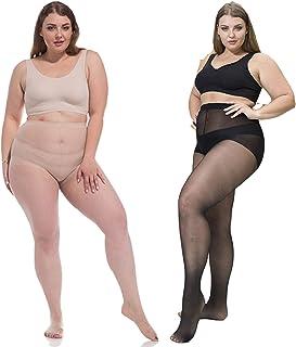 ANDIBEIQI 2 paires de bas collants grande taille ultra-doux pour femme
